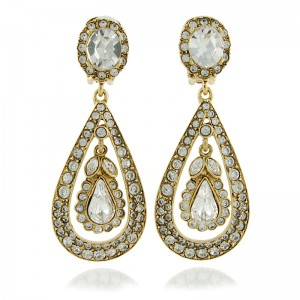 Antique Crystal Teardrop Earrings By Kenneth Jay Lane
