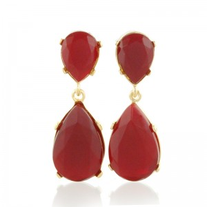 Gold Ruby Teardrop Earrings By Kenneth Jay Lane