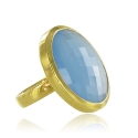 Chalcedony Faceted Cocktail Ring