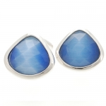Blue Harlequin Crystal Cufflinks by Babette Wasserman
