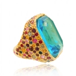 Multi Fiesta Cocktail Ring by Kenneth Jay Lane