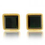 Gold Trim Emerald Earrings by Kenneth Jay Lane